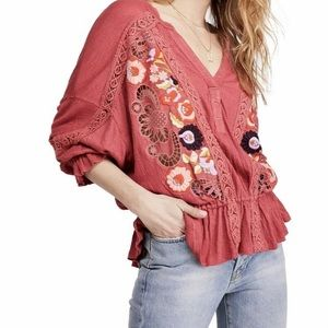 [Free People] NWT Embroidered Floral Crochet Top